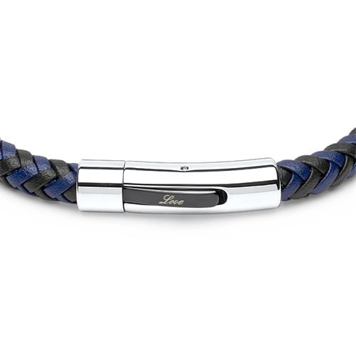 Geflochtenes Lederarmband schwarz/blau