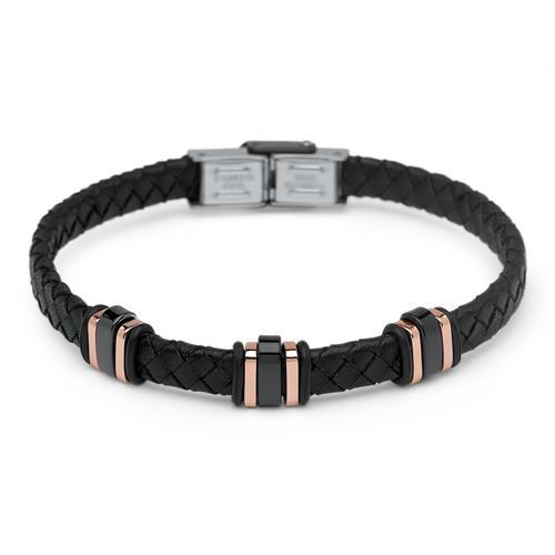 Unisex Lederarmband schwarz mit rosé Elementen
