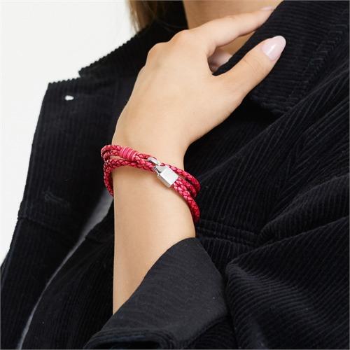 Pinkes Lederarmband Gravur möglich für Damen Haken
