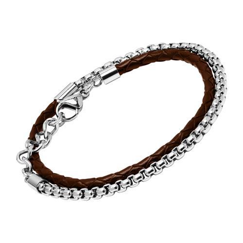 Armband aus braunem Leder und Edelstahl