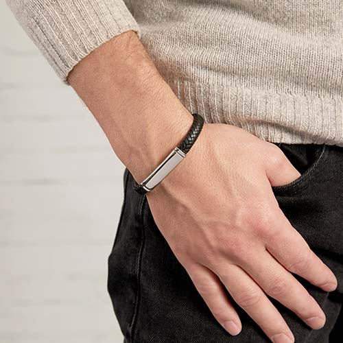 Gravur Armband aus schwarzem Leder