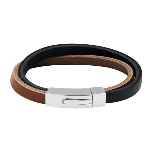 Gravierbares Armband braunes und schwarzes Leder