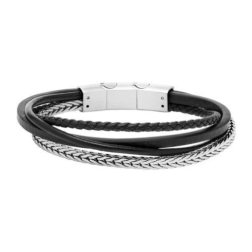 Armband aus schwarzem Leder und Edelstahl gravierbar