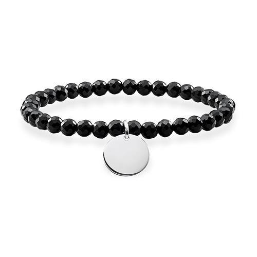 Damen Armband Coin aus schwarzem Obsidian gravierbar
