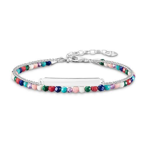 Gravur Armband für Damen aus 925er Silber Perlen bunt