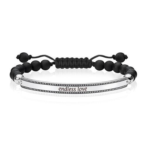 Gravierbares Armband für Herren Obsidian Sterlingsilber
