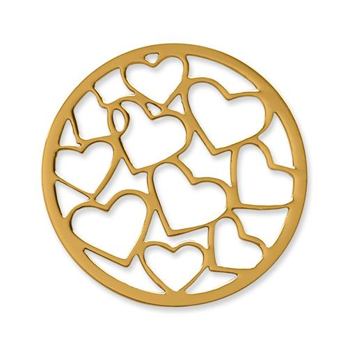 Münze Edelstahl Herzen gelbgold