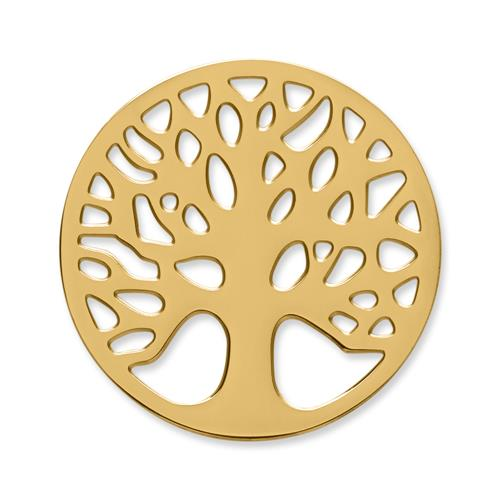 Münze Edelstahl Baum gelbgold
