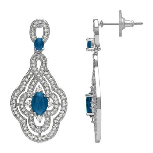 Ornamentale Ohrstecker Modeschmuck blau klar