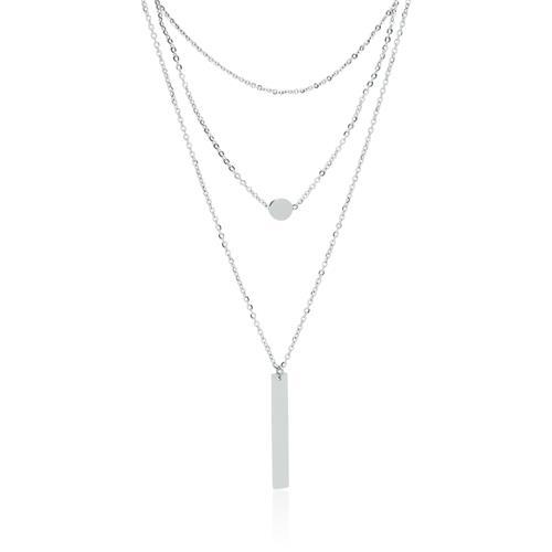 Dreireihige Halskette aus Edelstahl, gravierbar