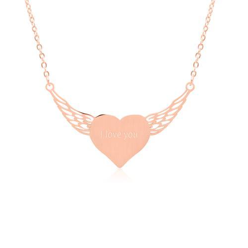 Rosévergoldete Edelstahlkette geflügeltes Herz