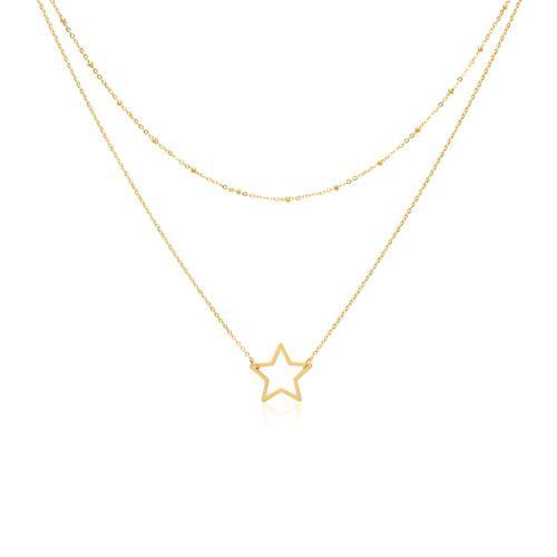 Zweireihige Kette Stern aus vergoldetem Edelstahl