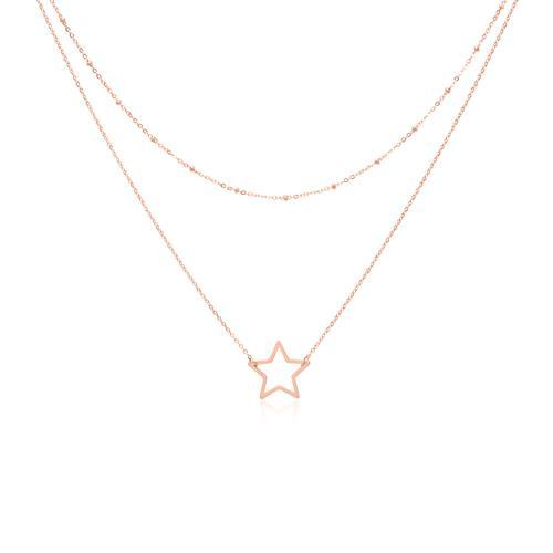 Layerkette Stern aus rosévergoldetem Edelstahl