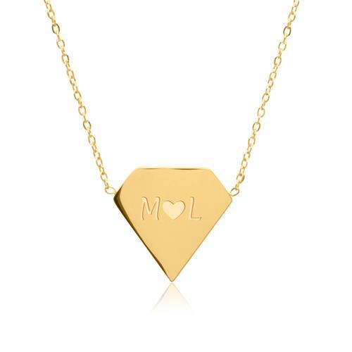 Vergoldete Edelstahlkette Diamant mit Zirkonia