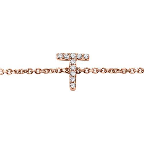 Buchstaben Armband aus 14K Roségold mit Diamanten