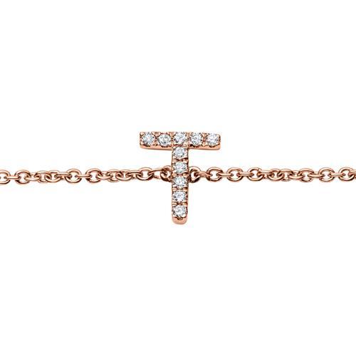 Armband aus 14K Roségold mit Brillanten, 5 Buchstaben