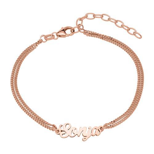 Namensarmband aus 925er Silber rosévergoldet