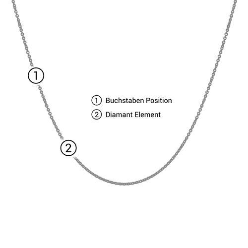 Halskette Buchstabe aus 14K Gold mit Diamant