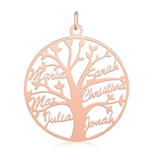 Personalisierbare Lebensbaum Kette 925 Silber, rosé