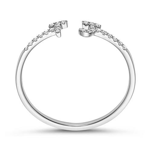 Ring aus 14K Weißgold und Diamanten, Buchstaben Symbole