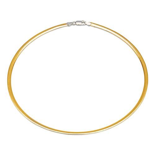 925er Silber-Halsreif silberne und gelbgoldene Seite