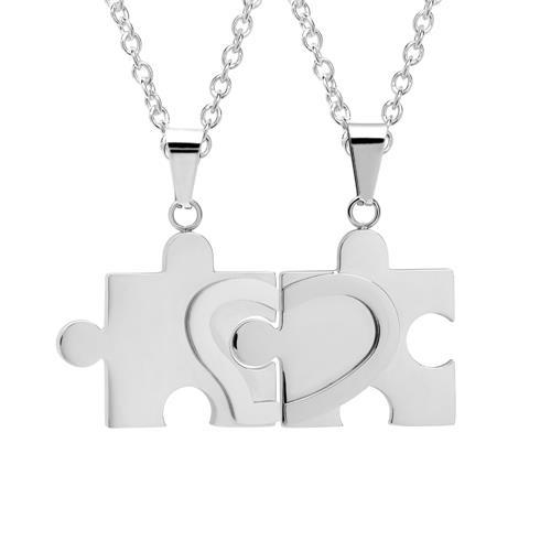 Edelstahl-Ketten mit Puzzleteil-Anhängern