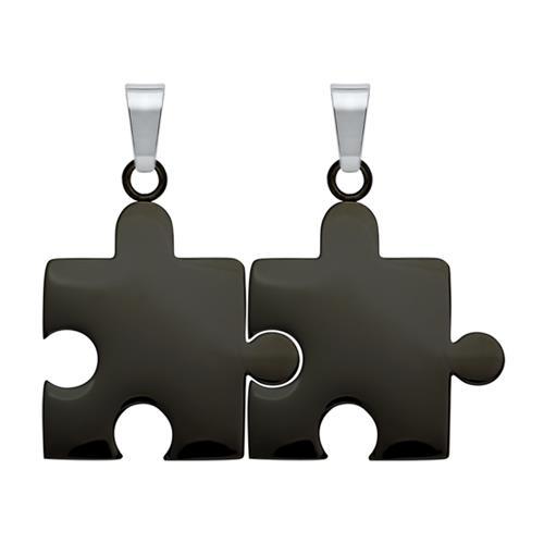 Anhänger Edelstahl Puzzleteil schwarz-schwarz