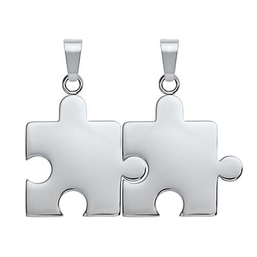 Anhänger Edelstahl Puzzleteil silbern-silbern