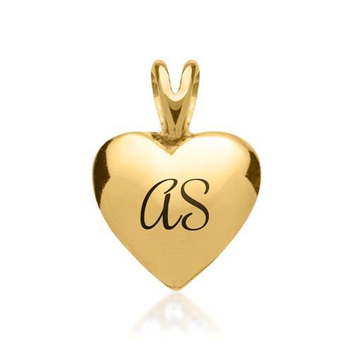 Vergoldeter Edelstahlanhänger Herz mit Kette