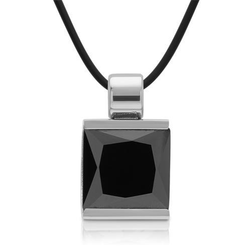 Edelstahlanhänger poliert mit schwarzem Stein