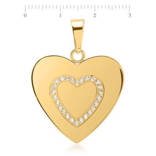 Herzanhänger Edelstahl vergoldet mit 26 Steinen