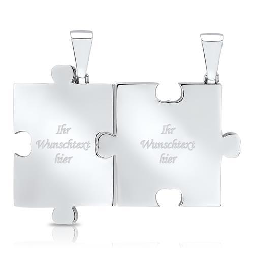 Partneranhänger Edelstahl in Puzzleform