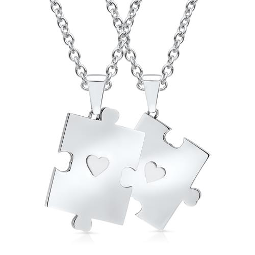 Edelstahlketten mit zwei Puzzleteilanhängern