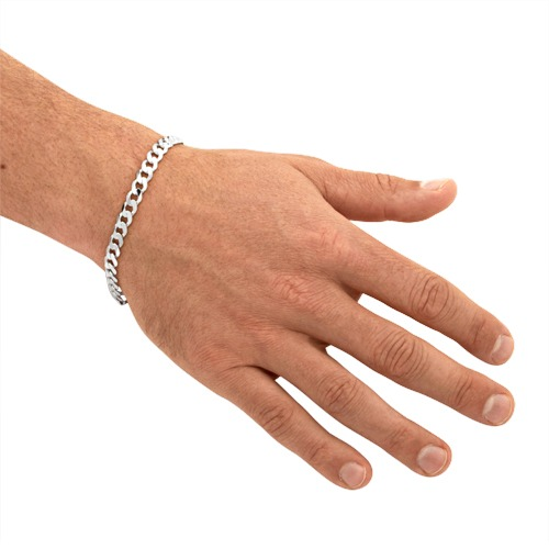925 Silberarmband: Panzerarmband Silber 7mm