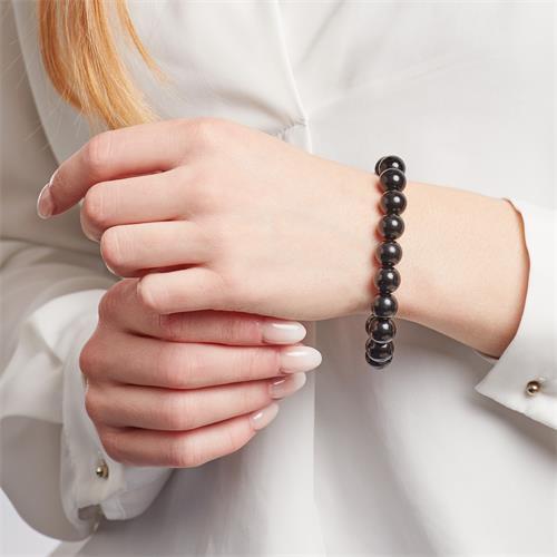 Schwarzes Armband polierte Achatperlen