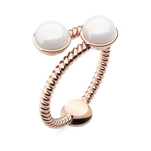 Ring Rope Pearl aus rosévergoldetem Edelstahl