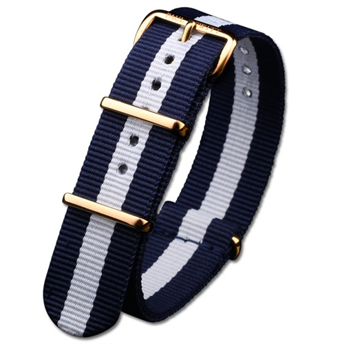 Uhrenarmband Herren Gold Blau-Weiss