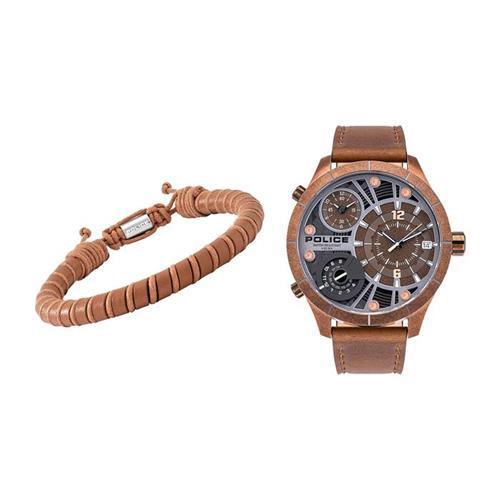 Herrenuhr und Armband Bushmaster, braun