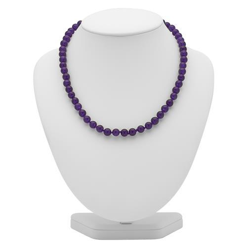 Lila Jadekette aus 8mm facettierten Perlen