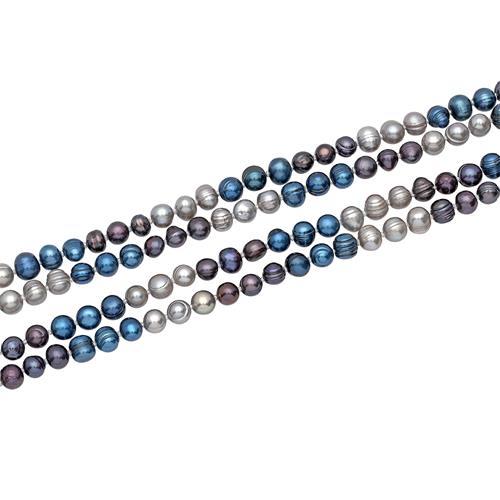 Lila-blau-graue Süßwasserperlenkette