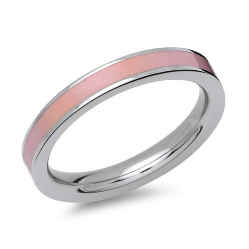 Ring aus Edelstahl rosa Emaille