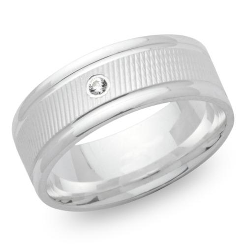 Moderner 925er Silber Ring matt Zirkonia 7 mm