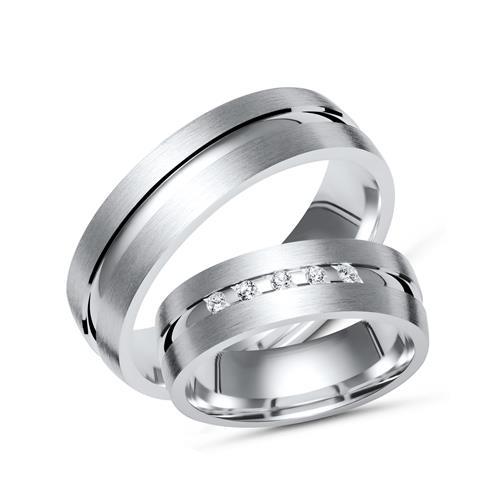 Partnerringe silber matt  Trauringe 925 Silber: Partnerringe Zirkonia R8528s