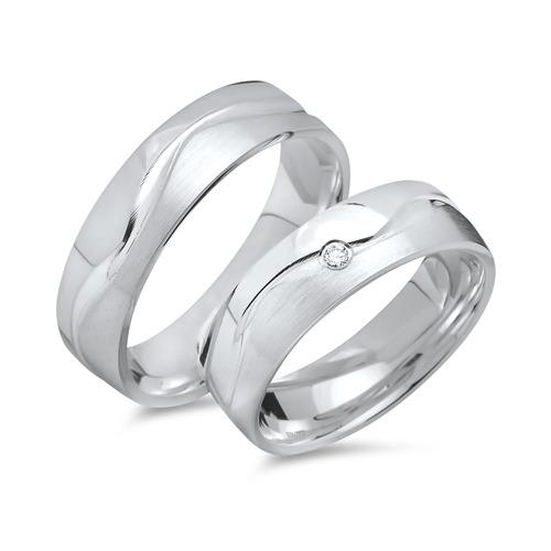 Partnerringe silber mit stein  Eheringe 925 Silber: Partnerringe Zirkonia R8529s