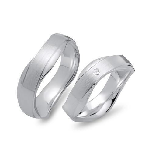 Eheringe silber  Wellenförmige Eheringe 925 Silber 5mm breit R8542s