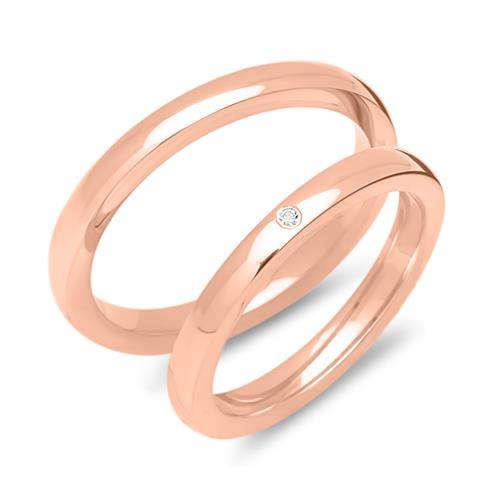 925er Silber Eheringe rosévergoldet mit Zirkonia