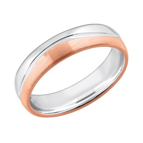 Herrenring bicolor 925 Silber rosé gravierbar