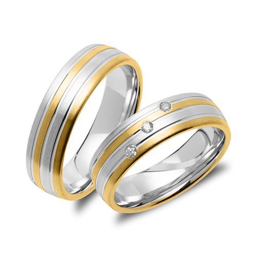 Eheringset aus Sterlingsilber teilvergoldet