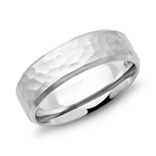 Gehämmerter Ring aus Edelstahl 7mm breit R9088