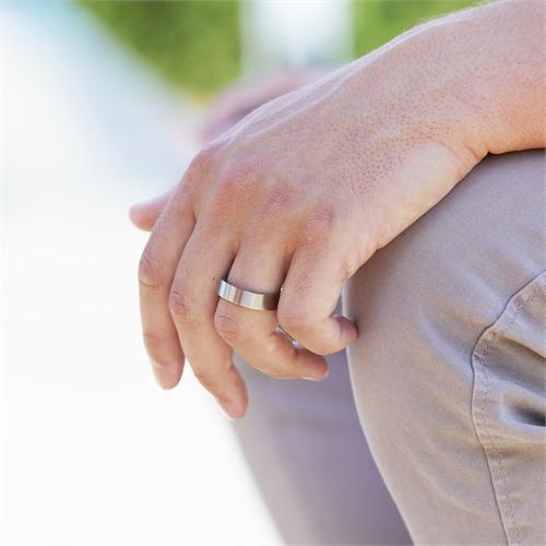 Moderner Ring Edelstahl matt 6mm eckig